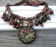 Light Purple Brown and Pink Necklace with a Rose Clock by zimaj, $59.00
