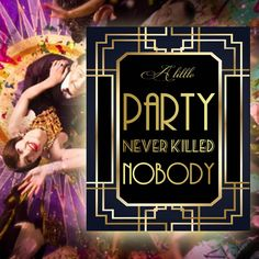Gatsby Party Sign, 8 x 11 x 16 x size, Gatsby Party, Art Deco Party Supplies - Black and Gold Cards, Bridal Shower Photos, Bridal Shower Signs, Bridal Shower Decorations, Free Birthday Invitations, Free Printable Invitations, Printables, Art Deco Party, Art Deco Wedding, Sonic Birthday
