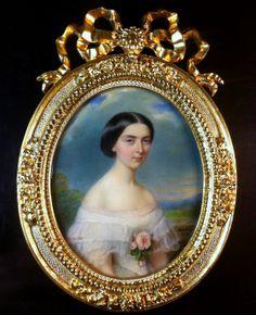 François Meuret (1800-1887) : Miniature portrait of a young lady in white dress, 1855