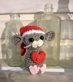 Mesmerizing Crochet an Amigurumi Rabbit Ideas. Lovely Crochet an Amigurumi Rabbit Ideas. Christmas Makes, All Things Christmas, Christmas Crafts, Christmas Ornaments, Crochet Mouse, Love Crochet, Craft Patterns, Crochet Patterns, Decor Crafts