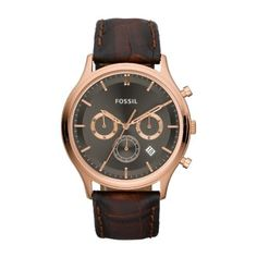 Fossil Ansel Chronograph Rose Gold Ion-plated Mens Watch FS4639 Fossil. $89.04. Brown Leather Strap. Analogue Display. Round Gold Plated Stainless Steel Case. Water Resistance : 5 ATM / 50 meters / 165 feet