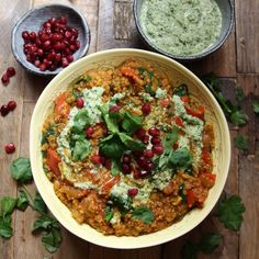 Harissa Quinoa and Lentils with Lemony Cashew and Coriander Cream