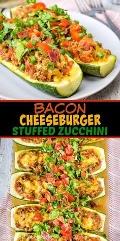 Bacon Cheeseburger Stuffed Zucchini – these easy stuffed zucchini boats are full of veggies, meat, and cheese. It's a delicious low carb dinner that everyone will enjoy! Perfect recipe for when you are cutting carbs! Zucchini Boat Recipes, Vegetable Recipes, Beef Recipes, Low Carb Recipes, Cooking Recipes, Healthy Recipes, Stuffed Zucchini Recipes, Stuffed Zucchini Boats, Healthy Zucchini