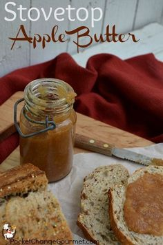 Stovetop Apple Butter Recipe: PocketChangeGourmet.com Homemade Butter, Canned Apple Butter, Homemade Recipe, Canning Recipes, Spring Water, Applebutter Recipe, Gelato, Slow Roast, Apple Recipes
