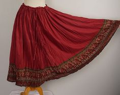 long red Indian gauze floral print skirt 90s boho by JennyandPearl