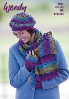 Wendy Ladies Scarf, Beret & Mittens Aurora DK Crochet Pattern 6047 – The Knitting Network Mitten Gloves, Mittens, Stitch Patterns, Knit Crochet, Crochet Hats, Fingerless Mitts, Designer Scarves, Shawls And Wraps