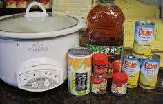 2 quarts of Apple Cider -2 cups ofPineappleJuice -3oz of frozen OJ concentrate -4 Cinnamon Sticks -14 Whole Cloves