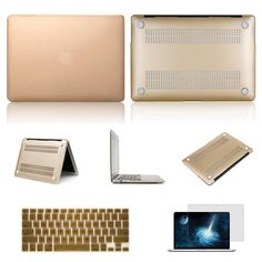 "Amazon.com: IC ICLOVER® 3 in 1 Laptop Rubberized Hard Cover Case Keyboard Skin For Apple 13.3"" inch Macbook Pro Frosted Matte Rubber Coated Rubberized See Thru Hard Snap On Case for Apple 13.3"" inch Macbook Pro - Silicone Protective Keyboard Skin Cover - Clear LCD Screen Protector (Champagne Gold): Electronics"