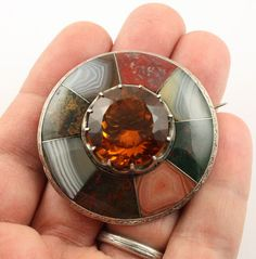 Superb Big Victorian Silver Scottish Agate Cairngorm Citrine Brooch Pin | eBay