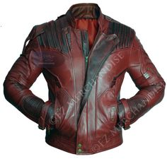Guardians-of-the-Galaxy-2-Star-Lord-Chris-Pratt-Maroon-Real-Leather-Jacket