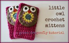 Crochet owl mittens fingerless gloves FREE