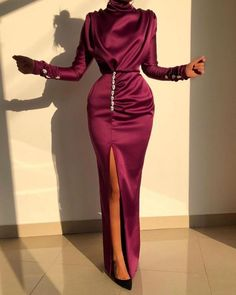 Women Sexy Splits Long Sleeve Maxi Dress High Neck Ruched Thigh Slit Satin Dresses Elegant Buttoned Sleeve Robe Femme, Red / S Elegant Prom Dresses, Satin Dresses, 1950s Dresses, Floral Dresses, Casual Dresses, Long Sleeve Maxi, Maxi Dress With Sleeves, Trend Fashion, Look Fashion