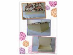 Caixa MDF pintada e decorada em tecido