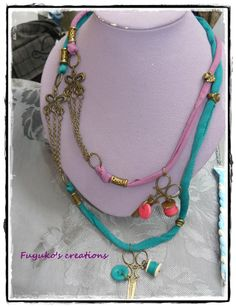 """Neclace """"hand knitting"""" -polymer clay and tape-"""