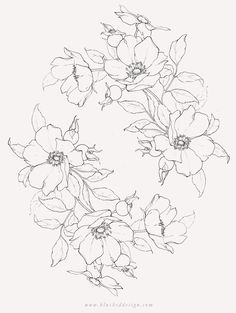 There's something so romantic and free about Wild Roses! Wild rose botanical illustration featuring a whimsical wreath arrangement. Beautiful pencil flower drawing by Katrina of Blushed Design. Art Floral, Floral Drawing, Flower Design Drawing, Illustration Botanique, Illustration Blume, Botanical Flowers, Botanical Art, Botanical Drawings, Flowers Garden