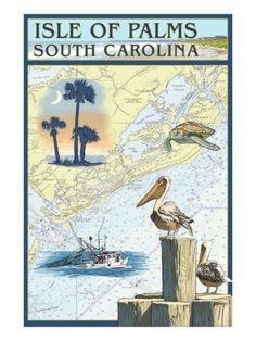 Isle of Palms, South Carolina - Nautical Chart Print at Art.com