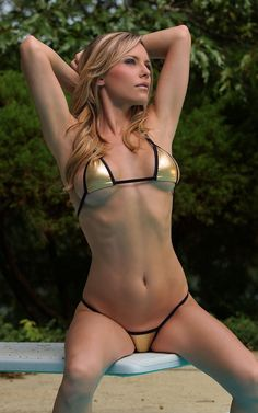 26356f6e0c Solid Gold Lycra Foil Sexy Mini Micro G String Bikini 2pc Triangle Top and  Thong Minimal Coverage Swimwear Exotic Dancewear Extreme Stripper