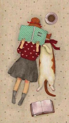 Girl with her cat reading a book illustration. - Girl with her cat reading a book illustration. Bookworm drawings, adorable book … – girl with h - Illustration Mignonne, Cute Illustration, Illustration Pictures, Cat Reading, Reading Books, Girl Reading, Cat Love, Crazy Cats, Cat Art