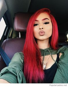 This girl makes me want red hair damn! Lol - New Hair Bright Red Hair, Red Hair Color, Black Girls Red Hair, Red Hair With Black Roots, Dark Burgundy Hair, Red Ombre Hair, Ombre Color, Black Hair, Remy Human Hair
