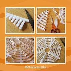 Da un toque de halloween a tu hogar con estas increíbles telarañas.   Necesitas: · Pliegos blancos de papel de china · Tijeras  1.- Dobla el papel en 4 y a la mitad hasta que quede en triángulo. 2.-Recorta en líneas como se muestra en la foto en el paso 1. 3.- Con mucho cuidado, ve retirando el papel de las áreas recortadas. 4.- Desdobla todo el papel. 5.- Listo para decorar.   #DIY #Decoración #Ideas #Halloween #Telaraña #Facil #Papel #China