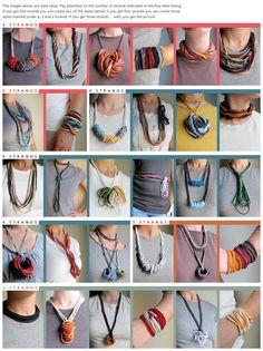 Herbst-Boho-Armband oder Halskette Jersey-T-Shirt-Stoff