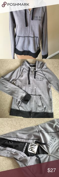 Grey VS Pink zip up hoodie Grey and black zip up hoodie from PINK. Light weight and comfortable. Good condition. Size small PINK Victoria's Secret Tops Sweatshirts & Hoodies