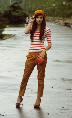 For later, red and white stripe shirt with khaki cargo skinnies.
