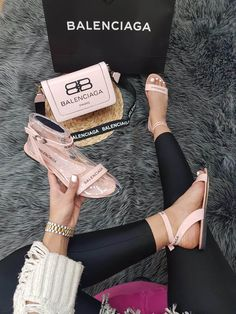 Designer summer shoes with matching handbag available in different sizes and colours sold online made in turkey Gucci Sneakers Outfit, Versace Sneakers, Versace Shoes, Balenciaga Shoes, Gucci Shoes, Shoes Flats Sandals, Cute Sandals, Cute Shoes, Baskets Nike