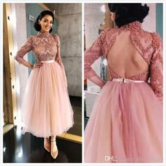 Luxurious 50 s Backless Sexy 2019 African Dubai Evening Dresses High Neck Beaded Crystals Lace Prom Dresses Tea Length Formal Party Gowns - - Blush Prom Dress, Beaded Prom Dress, Pink Prom Dresses, Hijab Prom Dress, Prom Dresses Long With Sleeves, Tea Length Dresses, Lace Tea Length Dress, Pink Evening Gowns, Custom Made Prom Dress