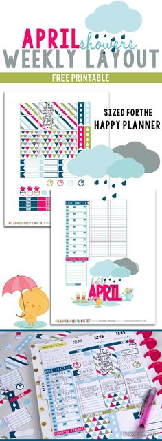 April Showers Free Printable Happy Planner Weekly Layout