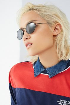 Dionne Slim Metal Oval Sunglasses | Urban Outfitters