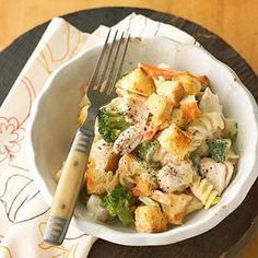 To adapt this homey, one-dish meal to fit into a healthy diet, we decreased the chicken and took advantage of reduced-fat soup, fat-free milk, and light mayonnaise.