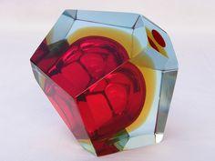 Murano geometric sommerso glass bowl