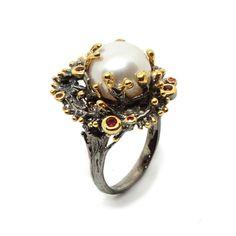 Ring mit weisser Perle Brooch, Jewellery, Fashion, Sapphire, Schmuck, Silver, Ring, Moda, Jewels