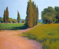 """""""Summer Pastoral"""" by Susan Ogilvie, you can almost feel the warm air moving the trees.. #landscape #art"""