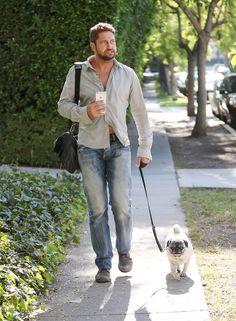 Gerard Butler Walking Dog Lolita in LA