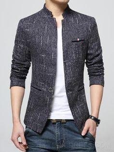 Vogue Stand Collar Slim Elegant Mens Blazer - Men Blazers - Ideas of Men Blazers Mens Casual Suits, Blazers For Men Casual, Casual Blazer, Mens Suits, Blazer Outfits Men, Mens Fashion Blazer, Mens Fashion Wear, Fashion Coat, Casual Outfits