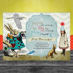 Girl Alice in Wonderland Birthday invitation by SweetPapermint