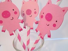 Set of 12 Pink Piggy Straws- Birthday parties, Farm Theme, It's a GIRL, pig parties