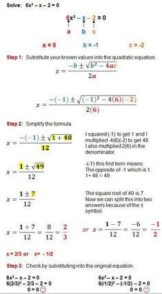 The Quadratic Formula is a great method for solving any quadratic equation. These step by step examples and practice problems will guide you through the process of using the quadratic formula. Gcse Math, Maths Algebra, Math Math, Maths Solutions, Math Notes, Physics And Mathematics, Math Formulas, Math About Me, Math Help