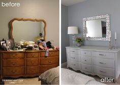 refurbished furniture I love this dresser makeover - will have to keep this in mind! Furniture Projects, Furniture Making, Diy Furniture, Repainting Bedroom Furniture, Bedroom Furniture Makeover, Gray Bedroom Furniture, Furniture Outlet, Discount Furniture, Luxury Furniture
