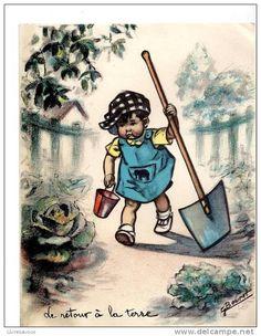 Art Et Illustration, Vintage Illustrations, Vintage Children, Vintage Images, Animation, My Favorite Things, Cards, Painting, Authors