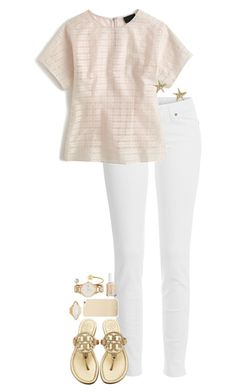 """""""Summer dinner outfit"""" by sassy-and-southern ❤ liked on Polyvore featuring Paige Denim, J.Crew, Tory Burch, Max & Chloe, HEATHER BENJAMIN, Essie and Kate Spade"""