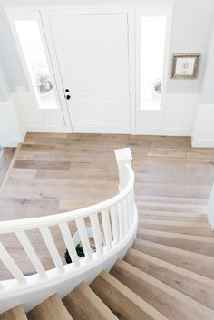 Home Remodeling Floors wood stairs with white wood railing - This is a sponsored conversation written by me on behalf of Floor Wood Railing, Wood Stairs, Home Renovation, Home Remodeling, Kitchen Renovations, Wood Floor Colors, Wide Plank, Trendy Home, Floor Decor