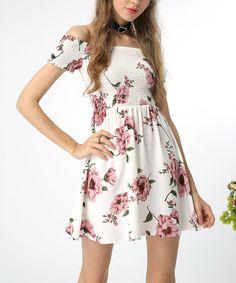 White Floral Off-Shoulder Dress