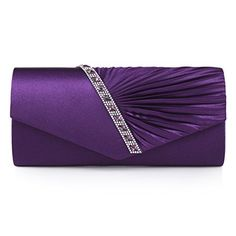 New Trending Clutch Bags: Damara Womens Pleated Crystal-Studded Satin Handbag Evening Clutch,Purple. Damara Womens Pleated Crystal-Studded Satin Handbag Evening Clutch,Purple  Special Offer: $15.99  399 Reviews The graceful large evening bag is designed with half pleated flap and half flat flap,which are separated by a line of crystals and rhinestones.It features magnetic hasp closure...