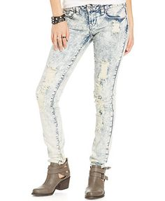 Dollhouse Juniors' Destroyed Dark Wash Skinny Jeans | SEPTEMBER ...