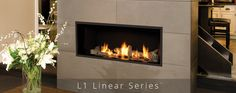 """A highly effective radiant and convective heater, the raises """"decorative widescreen"""" fireplace standards. Low turndowns provide hours of comfort, efficiently distributing warmth where you want it - when you want it. Direct Vent Fireplace, Linear Fireplace, Fireplace Wall, Living Room With Fireplace, Fireplace Ideas, Valor Fireplaces, Gas Fireplaces, Sunroom, House Design"""