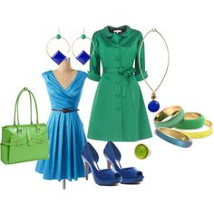 Aqua-Emerald-Lime-Sapphire Color Blocking Ensemble