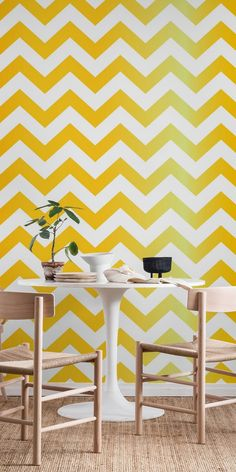 Yellow Pepper Chevron wall mural from Happywall #wallmurals #wallpapers #happywall #wallmural #wallpaper